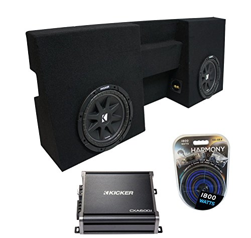 "Compatible with 2005-2015 Toyota Tacoma Double Cab Truck Kicker Comp C10 Dual 10"" Sub Box Enclosure & CXA600.1 Amp (Renewed)"