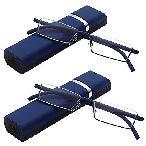 2er Pack Lesebrille Ultraleichte TR90 Unisex Designer Lesebrille Herren Damen Faltbare Halbrahmen Lesebrille mit Box Schwarz Rot Blau Braun Vergrößerungen(Blau,+1.5)