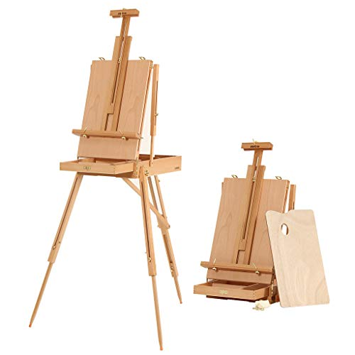 JBH Wooden Tabletop French Style Easel for Painting, Adjustable Desk Easel with Sketchbox, Drawer, Art Easel for Portable Sketching, Drawing, Foldable Tripod, with Shoulder Strap and Palette