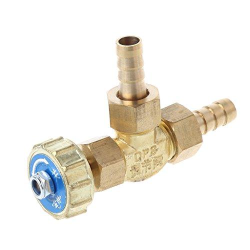Ontracker Válvula de aguja de latón para codo, 8 mm, propano, butano, regulador de gas con púas, 1 MPa