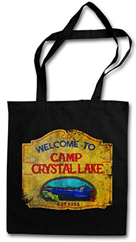 Urban Backwoods Camp Crystal Lake Vintage Sign Boodschappentas Schoudertas Shopping Bag