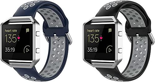 Chainfo Correa de Reloj Compatible con Fitbit Blaze, Blando Silicona Narrow Delgada Deporte Reemplazo Pulsera (2-Pack G)