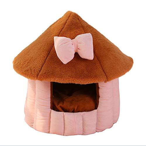 GSDJU Gato Cueva iglú Cama casa Cama de Perro para Perros pequeños cojín Nido de Gato Felpa Redonda Felpa casa de Perro Forma de Hongo S Gris