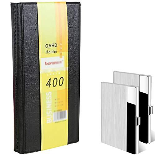 Lesai - Organizador de tarjetas de visita para 400 tarjetas + 2 tarjetas de visita de metal, accesorios de oficina, libros de tarjetas de visita