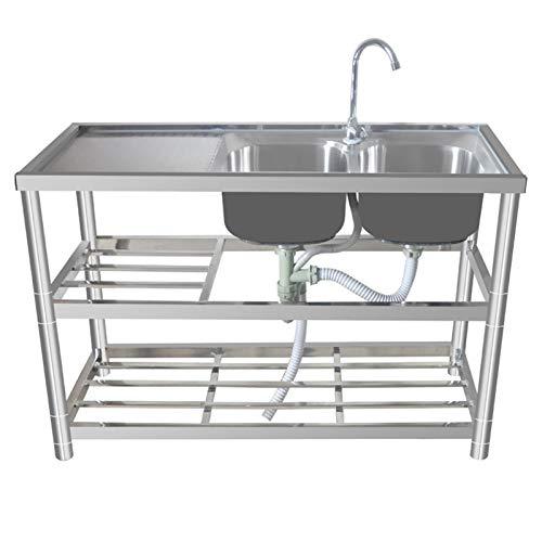 Fregadero comercial de doble tazón, combinación de fregadero y grifo de acero inoxidable, sistemas de drenaje de gran diámetro, duraderos y herméticos, a prueba de salpicaduras y fáciles de limpiar