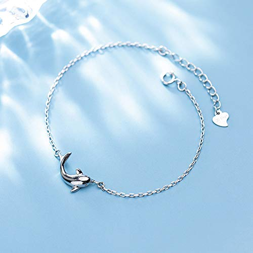 DGFGCS Ladies silver bracelet 925 Real Sterling Silver Fashion Women'S Jewelry Cute Dolphins Bracelet For Women Girl Lady Wedding Gift