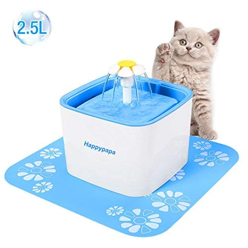 Happypapa 2.5L Automatic Cat and Dog Water Fountain Ultra Quiet Drinking Pet Fountain Encourages Cats and Dogs to Drink More to Stay Healthy and Hygienic (Blue)