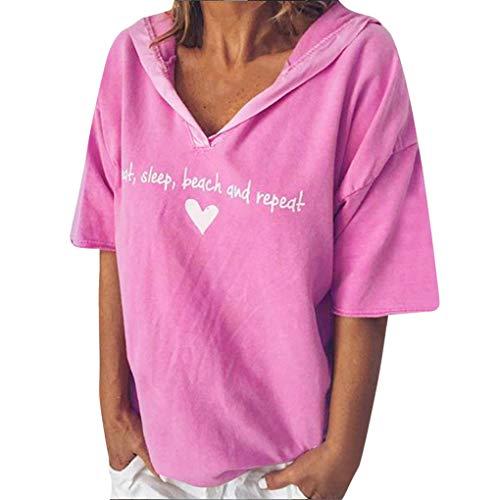 Dorical Damen Übergröße T-Shirt mit Kapuze,Frauen SommerKurzarm V-Ausschnitt Oberteile,Loose Hemd Letter Drucken Casual Shirts Bluse Tops
