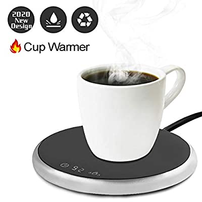 Coffee Mug Warmer Electric Smart Beverage Warmer with Timer & Temperature Control for Office/Home Suitable for Water,Cocoa,Milk & Coffee Electric Cup Beverage Plate - Metallic Silver