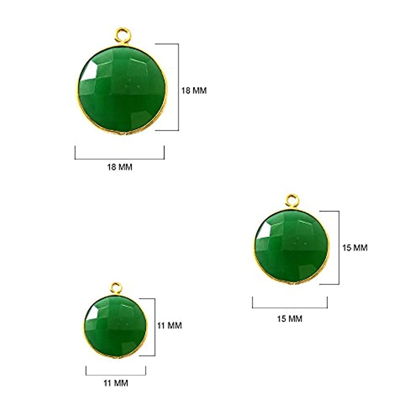 4 Pcs Natural Green Turquoise Coin Beads 11mm 24K Gold Vermeil by BESTINBEADS, Natural Green Turquoise Coin Pendant Bezel Gemstone Connectors Over 925 Sterling Silver Bezel Jewelry Making Supplies