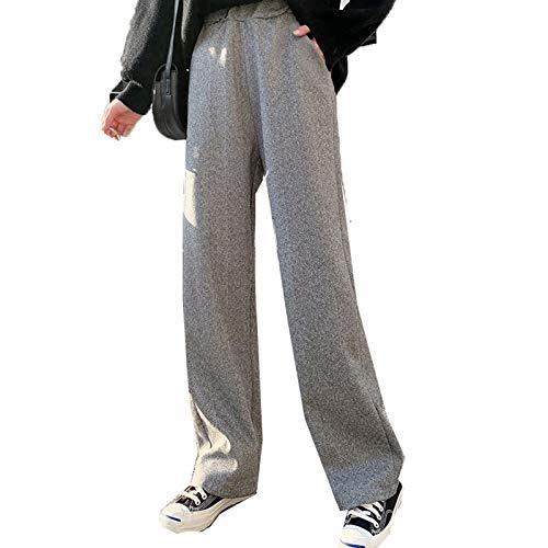 FUNPLUS Wollhose für Damen Herbst Winter Hose mit geradem Bein Lose, dünne, verdickte, lässige Neun-Punkt-Hose mit weitem Bein