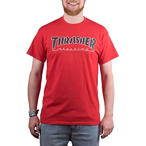 THRASHER T-Shirt Outlined Rosso (XL, Rosso)