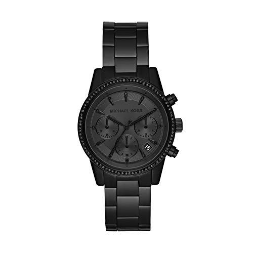 Michael Kors Women's Ritz Quartz Watch with Stainless Steel Strap, Black, 18 (Model: MK6725)