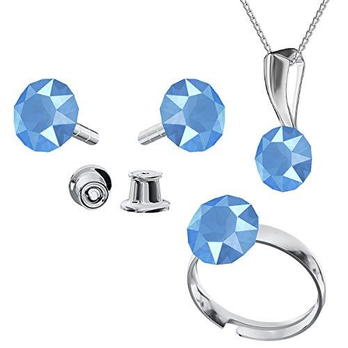 Juego de joyas de plata de ley 925 con cristales de Swarovski Xirius Summer Blue – Pendientes – Anillo ajustable – Collar con colgante – Joyas con caja de regalo