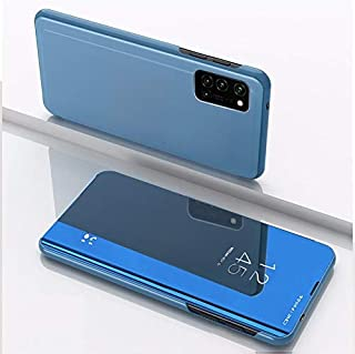 Phone case For OPPO A52/A72/A92 Plated Mirror Horizontal Flip Leather Case with Holder(Silver) (Color : Blue)