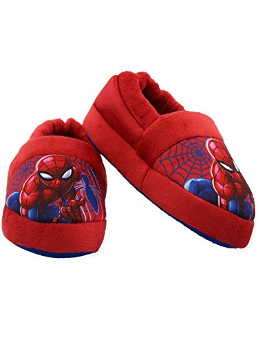 Spider-Man Toddler Boys Plush Aline Slippers (2-3 M US Little Kid, Red/Blue)