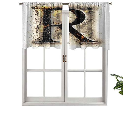 Hiiiman Cenefa de cortina para ventana de privacidad interior, capital R, en pantalla barroco, fonemas fenomenales, juego de 1, 137 x 45 cm para puerta corredera de patio o comedor