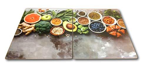 HCH 2 x Glas Herdabdeckplatte Herdabdeckung Schneidebrett Abdeckplatte für Ceranfeld Design gesunde Küche extra für große 80 cm Kochfelder Herdblende
