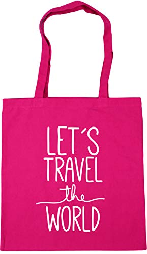 Hippowarehouse Let's Travel the World Tote Shopping Gym Beach Bag 42cm x38cm, 10 litres
