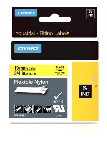 Dymo 18491 Rhino Nylon-Etiketten (für die Industrie, 19 mm x 3,5 m, Selbstklebend) schwarze Schrift auf gelb
