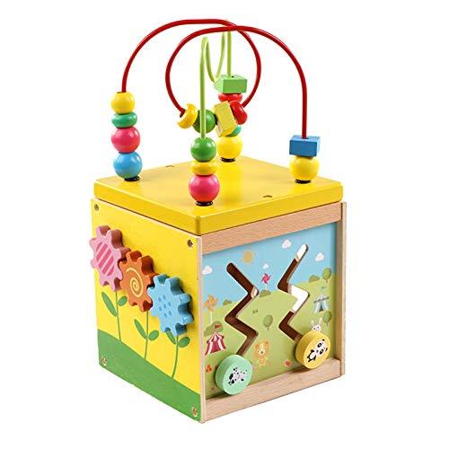 TWFY Juguete Educativo de Lad Maze Actividad Cube Bead Maze Calidad Actividad de Madera Cubo con Juguetes de Animales Cubo de Actividad de Madera (Color : Multi-Colored, Size : One Size)