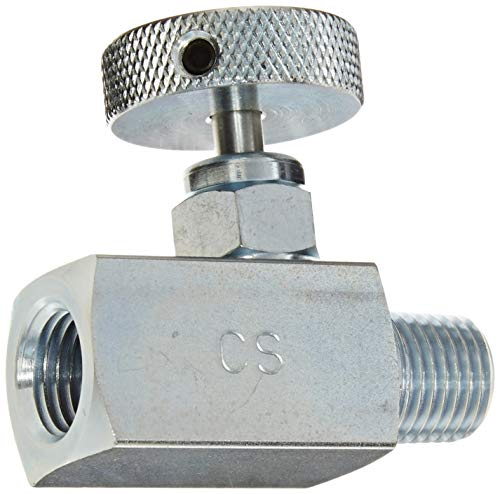 PIC Gauge NVS-CS-1/4-GS180-MXF Carbon Steel Small Body Straight Needle Valve with Round Handle (Gas), 1/4' Male NPT x 1/4' Female NPT Connection Size, 6000 psi Pressure