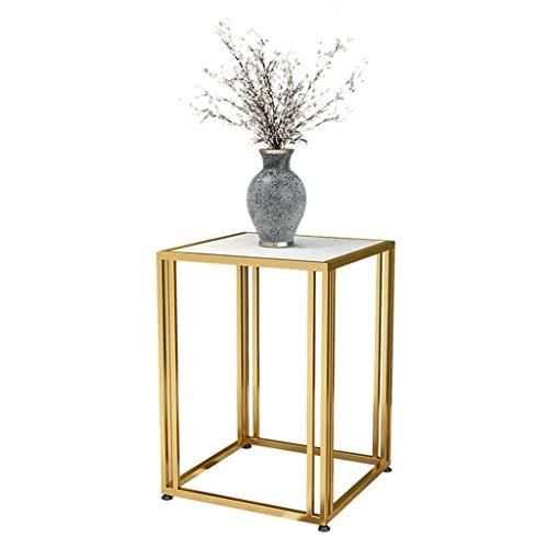 YAQ-Muebles de oficina Inicio Mesa de café, Textura de mármol decorativo Mesa lateral for sala de estar Habitación Hotel Mesilla de noche lámpara de mesa se puede colocar Mesas de pedestal
