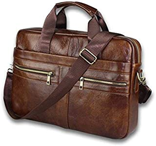 dac0bd0113c8 Timeless Genuine Leather Messenger Bag for Men – Gorgeous Superior Brown  Carry All Briefcase with Padded Laptop Protection for 14 Inch Computer – ...