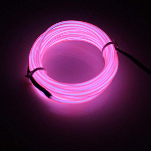 LERWAY Striscia Luminosa Corda Neon 5m LED Flessibile Cavo EL Wire DIY Multicolor Cosplay Halloween Natale Capodanno Festa Matrimonio Compleanno Decorazione Interna per Illuminazione (Rosa)