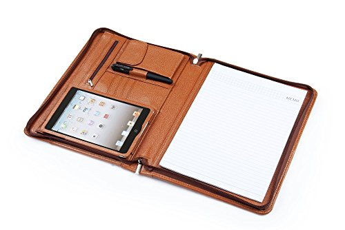 XIAOZHI Deluxe Leather Padfolio for iPad Mini 5th/ Mini 4 and A4 Letter-Size Notepad, Business Portfolio Folder Organizer, Brown