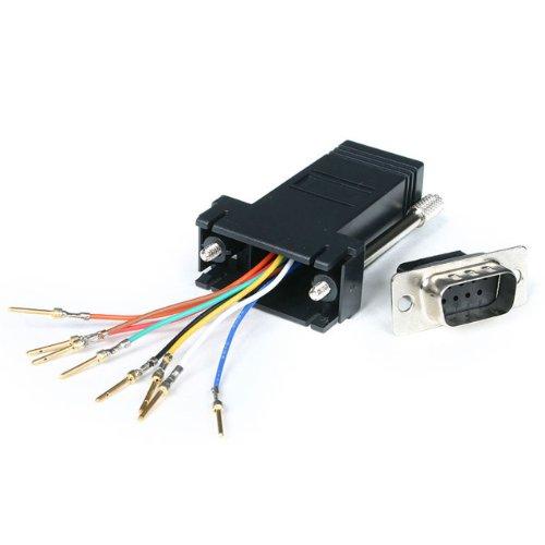 DB9 naar RJ45 modulaire adapter, stekker/bus, serieel adapter DB-9 / RJ-45, St/Bu