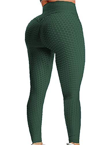 Womens Ribbed Yoga Active Leggings - High Waist Workout Butt Push Up Pants Sports Textured Stretchy Tights L