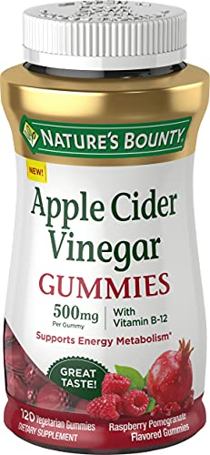 Nature's Bounty Apple Cider Vinegar Gummies - Energy & Metabolism Supplements - Unfiltered liquid ACV with the Mother, Non-GMO, Vegetarian, Vitamin B12, Beet Root, Pomegranate (500 Mg, 120 Count)