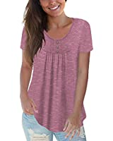 CPOKRTWSO Womens Casual Tops Short Sleeve Shirts Flowy Ladies Tunic Blouses, Carbon Pink M