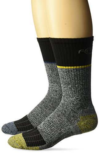 Carhartt Men's Big and Tall Force Performance Steel Toe Crew Socks-2 Pair, black, grey, yellow, blue, Shoe Size: 11-15