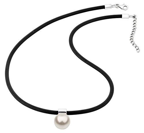 Nenalina Damen Halskette aus Kautschuk schwarz mit Perlen Anhänger (12 mm Swarovski Perle weiß), Damen-Kette Kautschukband mit 925 Sterling Silber Verschluss, Länge 42 cm, KAS-344