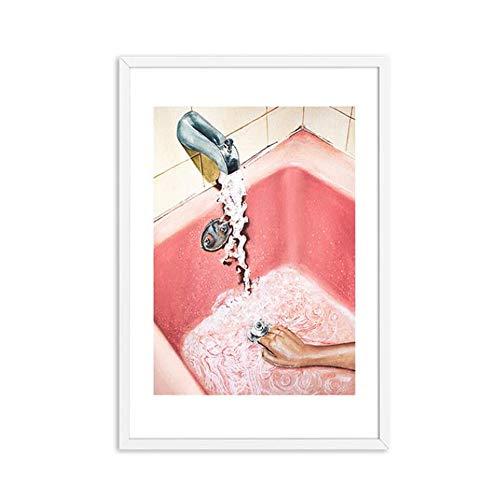 HUIGEFANBUHUA Moderne rosa sexy Mädchen Badewanne Wandkunst Leinwand Malerei druckt Wandbilder für Toilette Badezimmer Pop Art Dekor 40X60cmNein Rahmen K1