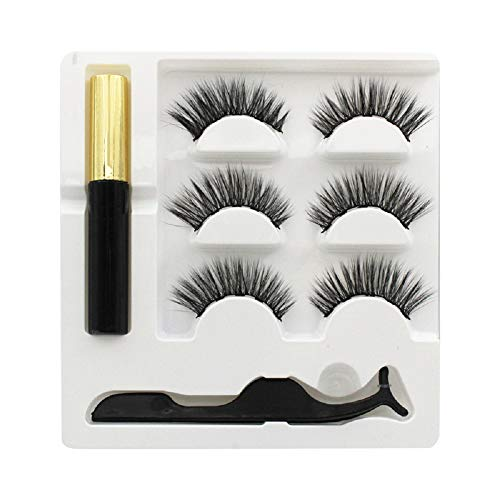 Magnetic Eyelashes with Eyeliner, Magnetic Eyeliner and Lashes,3D Magnetic Eyelashes Kit with Tweezers,Reusable,Easy to Wear,Light Weight & Natural Look(3Pairs/6Pcs) (Black)