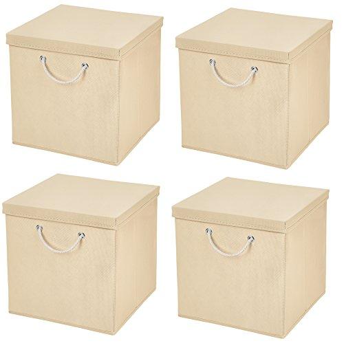 Stick&Shine 4X Aufbewahrungs Korb Creme Faltbox 30 x 30 x 30 cm Regalkorb faltbar mit Kordel und mit Deckel