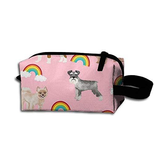 Travel Makeup Dogs with Rainbows Beautiful Waterproof Cosmetic Bag Quick Makeup Bag Pencil Case