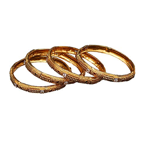 JewelryGift Unique Beautiful Bangles White Cubic Zircon Studded Gold Plated Kangan Traditional Fashion Statement Jewellery for Girls Ladies Women Set of Four K 2670-8
