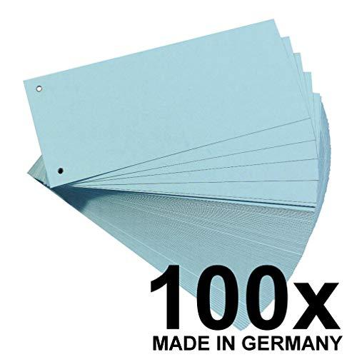 Original Falken 100er Pack Karton-Trennstreifen. Made in Germany. 10,5 x 24 cm blau Trennlaschen Trennblätter Ordner Register Blauer Engel