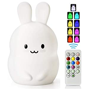 LED Nursery Night Lights for Kids -USB Rechargeable Animal Silicone Lamps with Touch Sensor and Remote Control -Portable Color Changing Glow Soft Cute Baby Infant Toddler Gift (Bunny)