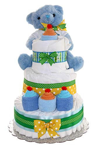 3 Tier Diaper Cake - Blue Teddy Bear Diaper Cake For Boy - Baby Gift For Baby Shower - Teddy Bear Theme - Diaper Cake Is Decorated With Cupcakes Made Out Of Newborn Socks And Washcloths (Blue)