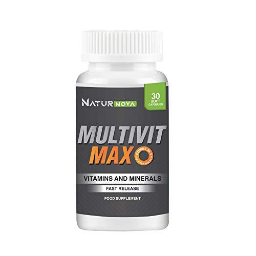 Complejo multivitamínico potente a base de vitaminas y minerales | Vitaminas A, B, B6, B12, B9, C, D, E y minerales | Energía y vitalidad | Protege el sistema inmunitario | 30 cápsulas