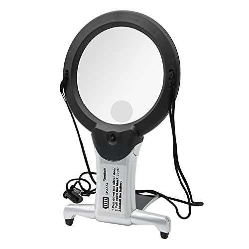 Rumfo 2/6X Reading Magnifier with LED Light Hands Free Chest Rest Double Lighted Knitting Embroidery Benchtop Multifunction for Sewing Cross Stitch Inspection Repair