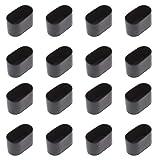 Be In Your Mind ovale Tischbein-/Stuhlbeinspitzen, flexible und gummiartige Abdeckung, kratzfreier Möbelboden, 40 x 20 mm, Schwarz, 16 Stück