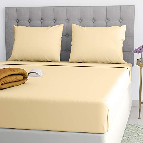 Ghazlan Filo Magico Easy Care Plain Dyed Deep Fitted Sheet 40 CM/16' Inches Bed Sheets Latte Single Double 4FT King & Super King Size (Latte, King)