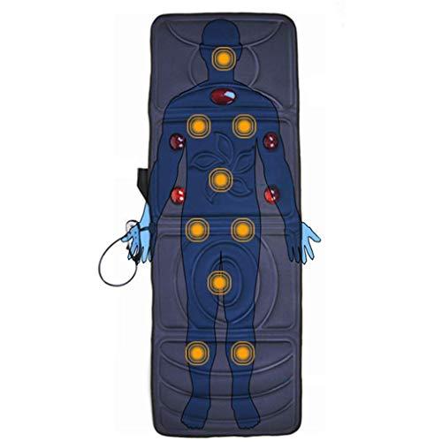 GEEZU-massagekussen voor het hele lichaam, vibratiemotor, matras, mat voor nek, rug, taille, benen, pijnverlichting, 8 therapieverwarming en 9 trilmotor, blauw