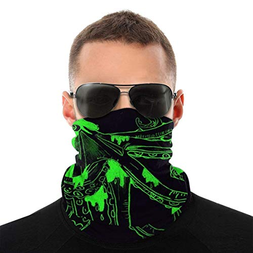 ALPHNJ Polaina de Cuello Fluorescente Pulpo Verde Bandanas Cuello Polaina Cara sin Costuras Sombreros Pasamontañas para el Polvo Protección contra el